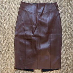 Express- Cognac faux leather skirt